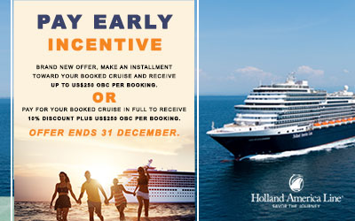 Holland America - Pay Early Incentive