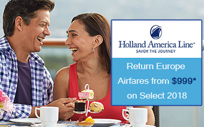 Holland America $999* Europe Air Offer