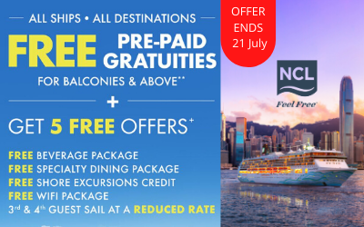 Norwegian Cruise Line - Free Gratuities + Get all 5!