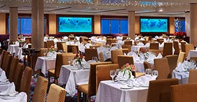 Norwegian Dawn cruise ship Aqua Main dinning room and facilities