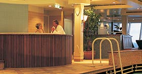 Norwegian Dawn cruise ship indoor Lap Pool and Jacuzzi.