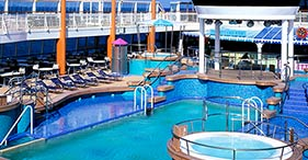 Norwegian Dawn cruise ship Oasis Pool, an outdoor pool with ice cream bar.