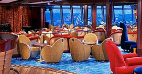 Norwegian Dawn cruise ship Spinnaker Lounge featuring music and dancing.