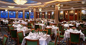 Norwegian Dawn cruise ship Venetian main dinning room.