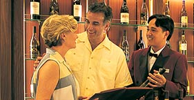 Norwegian Dawn cruise ship Wine Cellar, wine tasting, display and sales.