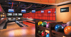 Norwegian Epic cruise ship O'Sheehan's Bar & Grill sports bar bowling alley.