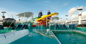 Norwegian Epic cruise ship Aqua Park with multi-story water slides and sun deck