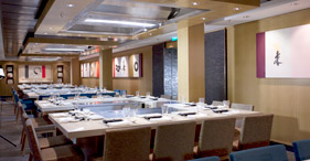 Norwegian Epic cruise ship Teppanyaki traditional Japanese dishes.