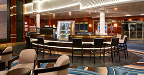 Norwegian Gem cruise ship Java Café with computers and internet access.