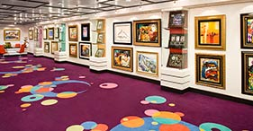 Norwegian Jade cruise ship Art Gallery with works available for purchase.