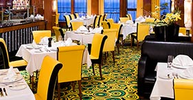 Norwegian Jade cruise ship Cagney's Steakhouse with vintage theme.