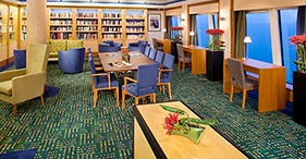 Norwegian Jade cruise ship library with view.