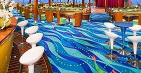 Norwegian Jade cruise ship Spinnaker Lounge with windows on the floor that allow
