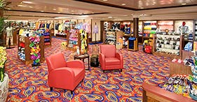 Norwegian Jewel cruise ship The Galleria Shops department store with a wide sele