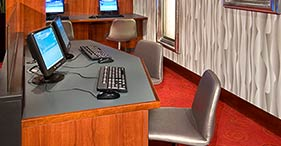 Norwegian Jewel cruise ship Internet Café with computer and internet access.
