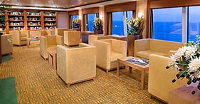 Norwegian Jewel cruise ship library with view.