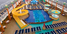 Norwegian Jewel cruise ship Sapphire Pools include the main pool, hot tubs, and