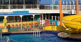 Norwegian Jewel cruise ship Topsiders Bar located close to the pool and hot tubs