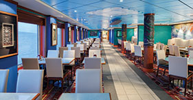 Pride of America cruise ship Aloha Café with indoor and outdoor seating and a ki