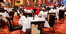 Norwegian Pearl cruise ship Cagney's Steak House with a 1930's theme.