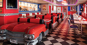 Pride of America cruise ship Cadillac Diner with a 1950's theme.