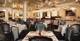 Pride of America cruise ship Jefferson's Bistro featuring gourmet French cuisine