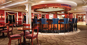 Pride of America cruise ship John Adam's Coffee Bar with coffees, teas, pastries
