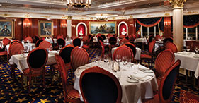 Pride of America cruise ship Liberty Main Dining Room with an American History t