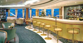 Norwegian Sky cruise ship Atrium Bar featuring Champagnes, vodkas, and a full ba