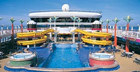 Norwegian Star cruise ship The Oasis Pool with Topsider's Bar and Grill.