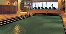 Norwegian Star cruise ship Indoor Lap Pool and Jacuzzi with heated water.