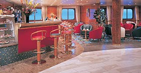 Norwegian Sun cruise ship Java Café with coffees, teas, pastries, and cookies.