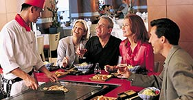 Norwegian Sun cruise ship Teppanyaki with authentic Asian food prepared right in